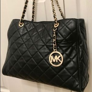 Michael Kors Susannah Black Quilted Large Tote